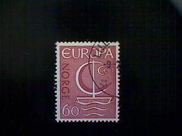 Norway (Norge), Scott #496, Used (o), 1966, Europa Common Design Series, Sailboat, 60ø, Dark Carmine - Norway