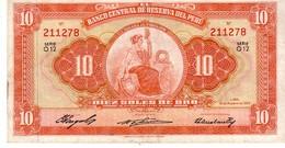 Peru P.82  10 Soles 1958 Vf+ - Perù