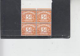 GRAN BRETAGNA  1968-9 -  Unificato 69 (quartina) - Tasse - Tasse