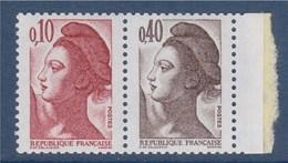 = Liberte De Delacroix Dite De Gandon Paire Neuve 2179a (composée 2179 Et 2183) Bord - 1982-90 Liberty Of Gandon