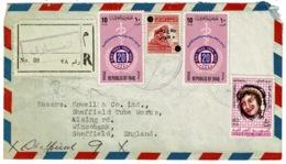 Ref 1301 - 1971 Registered Airmail Cover Iraq To Sheffield UK - 60f Plus Defence Fund Tax - Iraq
