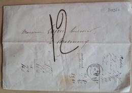 20196# LETTRE TAXE 12 DECIMES Obl FIGEAC 1865 LOT Pour BRETENOUX - Marcophilie (Lettres)