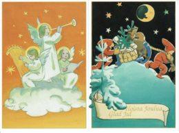 1993 - FINLANDE - 2 Entiers Postaux Pour Vœux De Noël (cartes 10 Et 11) - Lutins Tirant Un Traineau Et Anges Musiciens - Entiers Postaux
