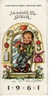 """1961 - Mini Calendrier De Poche Allemand """"ICH WÜNFCH' DIR GLÜCK"""" - """"Je Te Souhaite Bonne Chance"""" - Petit Format : 1961-70"""