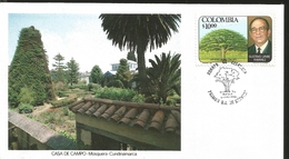 J) 1980 COLOMBIA, SAMANEA SAMAN, TREE, GUSTAVO URIBE RAMIREZ, COTTAGE, FDC - Colombia