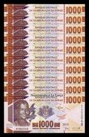 Guinea Lot Bundle 10 Banknotes 1000 Francs 2015 Pick 48 SC UNC - Guinee