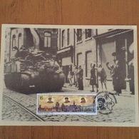 2 Cartes Entrée Des Chars Alliés Pour Libération Tienen.50eme Anniversaire - Documents