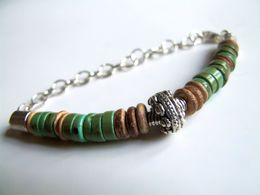 Bracelet Homme, Bracelet Pierre, Turquoise Verte, Pierre Naturelle, Bois De Coco, Bracelet Surf, Rustique, Boho - Bracelets
