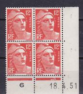 N° 885 Marianne De Gandon Bloc De 4 Timbres Coins Datés 18.4.51  Timbres Neuf Impeccable - Dated Corners