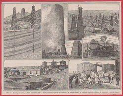 Pétrole. Matériels. Exploitation à Bakou En Azerbaïdjan. Illustration Maurice  Dessertenne. Larousse 1920 - Vieux Papiers