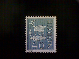 Norway (Norge), Scott #463, Used (o), 1968, Rock Carvings, 40ø, Light Blue Green - Norway