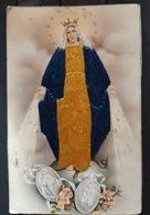 VIRGEN MARIA. BONITA  POSTAL BORDADA CON HILO. POSTALES VICTORIA - ZARAGOZA. - Virgen Maria Y Las Madonnas
