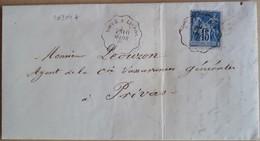 20204# SAGE LETTRE Datée De BAIX Obl VOGUE A LIVRON 1885 CONVOYEUR LIGNE ARDECHE DROME Pour PRIVAS - Marcophilie (Lettres)