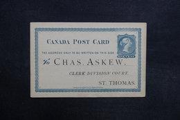 CANADA - Entier Postal Commerciale De St Thomas En 1877 - L 31575 - 1860-1899 Regering Van Victoria