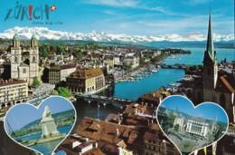 AN17 Zurich Mit Limmat, Grossmunster, Paradplatz Und Hafen Erge - ZH Zurich