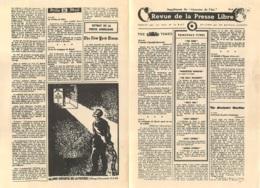 REVUE DE LA PRESSE LIBRE EXTRAIT DOUBLE PAGE   RESISTANCE   1942 - 1939-45