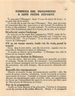 CONSEILS DES PRISONNIERS A LEUR FRERE DEPORTE  RESISTANCE   1942 - 1939-45