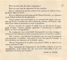 EXTRAIT D'APPEL DE JEAN DE LYON  RESISTANCE - 1939-45