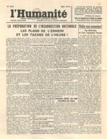 L'HUMANITE 1944 LA PREPARATION DE L'INSURRECTION NATIONALE FEUILLET DOUBLE   RESISTANCE  1944 - 1939-45