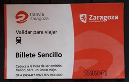 TRANVIA. TARJETA TICKET DE UN VIAJE. ZARAGOZA - ESPAÑA. - Tranvías