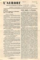 L'AURORE APPEL DU CONSEIL NATIONAL DE LA RESISTANCE 14 JUILLET 1944 DOUBLE PAGE - 1939-45