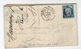 FLERS DE L'ORNE ORNE Type 17 GC 1520, 1875, Ceres 25c Bleu N°60 III - Marcofilia (sobres)