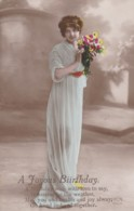AQ31 Greetings - A Joyous Birthday - Lady With Flowers (printing Error, Biirthday) - Birthday