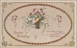AQ31 Greetings -Easter Greeting - Basket With Eggs And Flowers - Easter