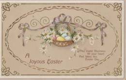 AQ31 Greetings - A Joyous Easter - Basket With Eggs And Flowers - Easter