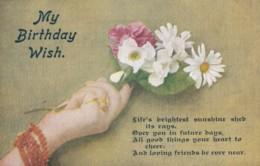 AQ31 Greetings - My Birthday Wish - Hand Holding A Posy Of Flowers - Birthday