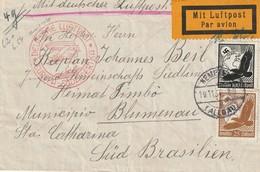 Lettre De Kempten Vers Sta Catharina ( Brésil) - DEUTSCHE LUFTPOST EUROPA-SÜDAMERIKA - Condor Zeppelin Lufthansa 1934 - Allemagne