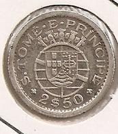 SAO TOME PRINCIPE SAINT THOMAS AND PRINCE 2$50 1951 SILVER DIFICILLE - Sao Tome And Principe