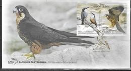 GREECE, 2019, FDC,  BIRDS, EUROPA 2019,HAWKS, KINGFISHERS,  2v ON FDC - 2019