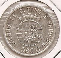 SAO TOME PRINCIPE SAINT THOMAS AND PRINCE 5$ ESCUDOS 1939 SILVER RARE - Sao Tome And Principe