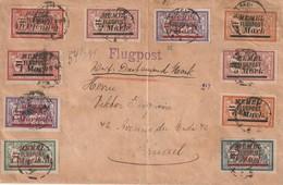 Memel - Enveloppe Avec Timbres Poste Aérienne Vers Bruxelles ( Manque Timbres Au Dos) - Memel (1920-1924)