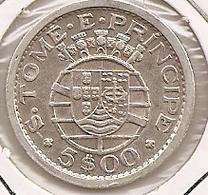 SAO TOME PRINCIPE SAINT THOMAS AND PRINCE 5$ ESCUDOS 1951 SILVER RARE - Sao Tome And Principe