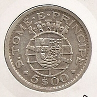 SAO TOME PRINCIPE SAINT THOMAS AND PRINCE 5$ ESCUDOS 1951 SILVER DIFICILLE - Sao Tome And Principe
