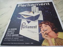 ANCIENNE PUBLICITE AMERICAINE FABRIQUE EN FRANCE CIGARETTE PARLIAMENT 1961 - Autres