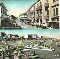 REAL PHOTOGRAPHIC COLOUR POSTCARDS JESOLO LIDO HOTEL CENTRALE E VIA BAFFILE - THE BEACH WITH PEDALOES - Italy