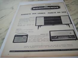 ANCIENNE PUBLICITE PURETE DU SON RADIO NORDMENDE 1961 - Musik & Instrumente
