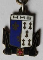Rare Ancien Porte Clefs émaillé Hôpital Militaire Maritime De Brest HMB Augis Blason Hermines Bretagne - Militaria