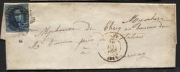 ALOST - N°7 Margé Obl. P 2 (barres Horizontales) S/lettre De AALST Vers Tournai 20/6/1856 - 1851-1857 Medaillen (6/8)