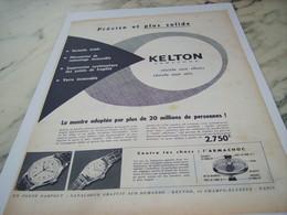 ANCIENNE PUBLICITE PRECISE ET PLUS SOLIDE  MONTRE KELTON 1956 - Joyas & Relojería