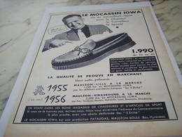 ANCIENNE PUBLICITE LE MOCASSIN IOWA DE MAULEON 1956 - Habits & Linge D'époque