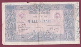 100619A - BILLET Mille Francs Banque De France 2 Mars 1926 L2168 686 Pub MAZDA Lampe - 1 000 F 1889-1926 ''Bleu Et Rose''
