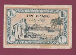 100619A - BILLET TUNISIE Direction Des Finances 1 Fr Un Franc Régence De Tunis U037026 Protectorat Français - Tunisie
