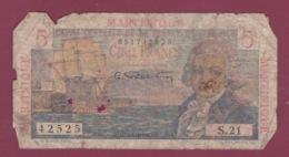 100619A - BILLET MARTINIQUE Caisse Centrale De La France D'Outre Mer Cinq Francs Bougainville - Frankreich