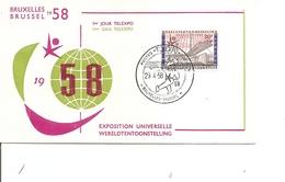 """Exposition De Bruxelles -1958 ( Commémoratif De Belgique Avec Cachet """"TELEXPO"""" De 1958 à Voir) - 1958 – Brussels (Belgium)"""