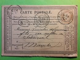 Carte PRECURSEUR  CAEN Calvados,  Cachet à Date + BM BOITE MOBILE  Sur CERES 55,18 Juillet 1876 >  Sourdeval Manche - 1849-1876: Période Classique