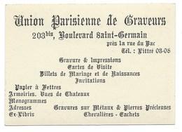 CARTE DE VISITE / UNION PARISIENNE DE GRAVEURS / BD ST GERMAIN / PHOTO HOMME A LA GUITARE DANS LA RUE - Cartes De Visite
